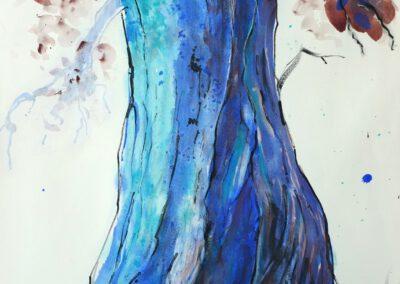 Blauer Baum 50x70 cm